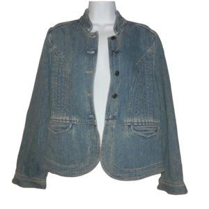 J. Jill Denim Light Wash Military Jacket Size SP
